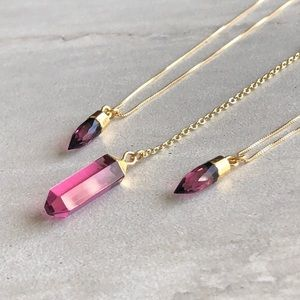 Oxblood 14K Gold Crystal Pendant Lariat Necklace